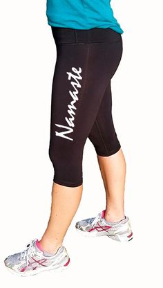 Namaste Design Womens Cropped Fitness Yoga Pants, Cropped Workout Pants, Crossfit Pants, Yoga Pants, Fitness Leggings by ShineAthletica on Etsy https://www.etsy.com/listing/207897275/namaste-design-womens-cropped-fitness
