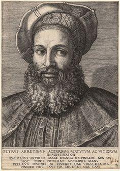 Marcantonio Raimondi: Portrait of Pietro Aretino (probably after a design by Sebastiano del Piombo), ca. 1517–20 or 1524–25. NYC, MET.
