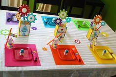 Rainbow robot table setting
