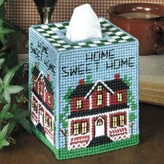 Home sweet home plastic canvas - Tissue Box covers - Tissue box patterns