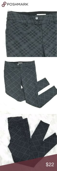 Gray plaid ponte pants Gray ponte style dress pants. Pull on legging feel with a work appropriate look, stretchy material, skinny fit. Faux front pockets and faux buttons. Cute plaid print. Size M. Like new, worn twice. Rewind Pants