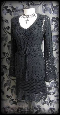 Romantic Goth Black Crochet Knit Bell Sleeve Dress 10 Hippie Witchy Gothic Boho | THE WILTED ROSE GARDEN on eBay // Worldwide Shipping Available