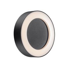 Nordlux TETON round exterior LED wall light in black with opal diffuser