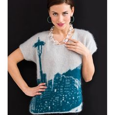 Seattle Skyline Pullover free pattern requires around 10 balls in Tahki Stacy Charles Luna (mohair/silk/lurex) Knitting Patterns Free, Knit Patterns, Free Knitting, Free Pattern, Editor Of Vogue, Patons Yarn, Classic Elite Yarns, Intarsia Knitting, Chevron Scarves