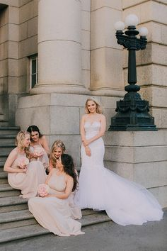 Soft pink and blush bridesmaids dresses are something you can't go wrong with! They suit most skintones and look feminine and soft which created a stunning contrast with the city surroundings of this chic urban wedding in Cape Town.  Wedding Gown by Robyn Roberts Bridal Blush Bridesmaid Dresses, Bridesmaids, Cape Town, Wedding Styles, Wedding Gowns, Contrast, Feminine, Suit, Urban