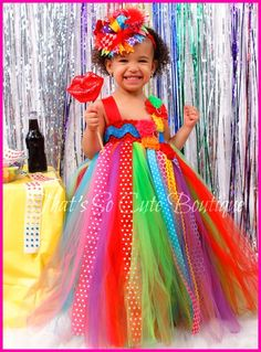 Rainbow Tutu Dress-Candyland, candy land, tutu dress, rainbow, birthday party, polka dot, bright, fun and funky