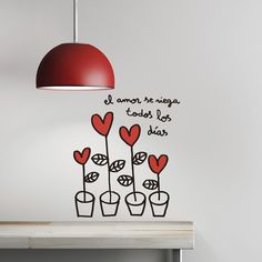 Vinilo Amor en macetas by Javirroyo para Chispum Travel Wall Decor, Wall Murals, Wall Art, Wall Tattoo, Home Decor Bedroom, Doodle Art, Wall Stickers, Decoration, Diy And Crafts