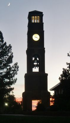 Clock tower at Southern Utah University in Cedar City, 2014.  Photography by David E. Nelson
