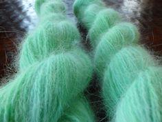 Hand Dyed Upcycled Angora Yarn by Knitpurly on Etsy