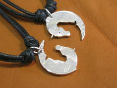Interlocking Necklaces, Yin Yang #Horse Heads, Hand Cut Coins $34.99 USD
