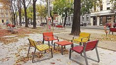 MAYFIELD by miramondo Colourful chairs and tables have been placed along Koppstraße in Vienna. Public space should be interesting and animating - offering possibilities to meet with friends or have conversations with neighbours. Colorful Chairs, Street Furniture, Vienna, Tables, Public, Meet, Space, Friends, Home Decor