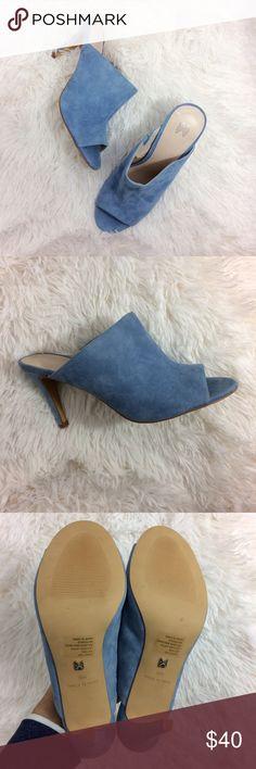 VICTORIA'S SECRET blue peep toe faux suede mules Brand : Victoria's Secret  / Size : 10  / Condition : Perfect Condition; NWOT   / baby blue peep-toe mule / new without tag  / approx 4in heel  / no wear on sole Victoria's Secret Shoes Mules & Clogs