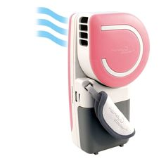 Handy Small Fan & Mini Air Conditioner ($37) is the closest thing to a handheld portable air conditioner you can get. A damp sponge inside the plastic container cools air to 30 degrees F, and the fan runs on a USB plug or batteries.