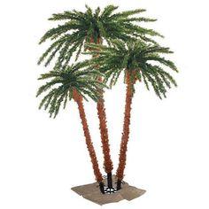 Pre-Lit Tropical Outdoor Summer Patio Palm Tree Trio Set