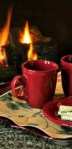 Hot chocolate by the fire.