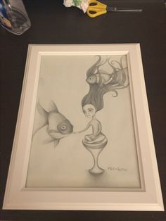 """""""Goldfish lady"""" pencil on paper by Frenk"""