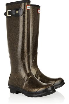 HUNTER  Original Tall Glitter Wellington boots  $145