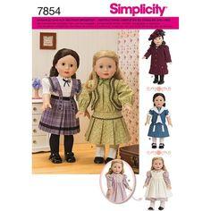 SIMPLICITY 7854 OS SCHNITTMUSTER PUPPE PUPPEN PUPPENKLEIDER RETRO