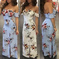 Stylish Floral Printed Off Shoulder Front Slit Maxi Dress Dress Outfits, Casual Dresses, Short Dresses, Fashion Dresses, Summer Dresses, Girl Outfits, Beautiful Long Dresses, Pretty Dresses, Pretty Outfits