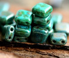 Picasso Two hole Czech glass Beads, Turquoise, rustic finish, square - 6mm - 20Pc - 574 via Etsy