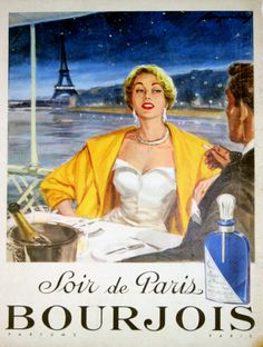 Affiche Bourjois Parfum Soir de Paris - France - 1950 - illustration de Raymond -