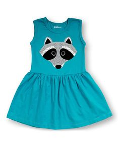 Look at this #zulilyfind! Aqua Raccoon Sleeveless Dress - Toddler & Girls #zulilyfinds