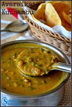 Avarakkai (Broadbeans) Kuzhambu Tastes just like rasa vangi Indian Veg Recipes, Paneer Recipes, Curry Recipes, Veggie Recipes, Lunch Recipes, Soup Recipes, Jain Recipes, Beans Recipes, Chutney Recipes