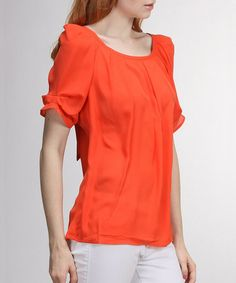 Look what I found on #zulily! Coral Pleated Boatneck Top by FATE #zulilyfinds