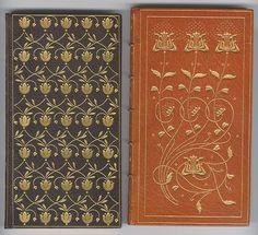 Zaehnsdorf Exhibition Bindings on Thomas B. Mosher Books.  (Left) Black - Michael Field's Underneath the Bough (1898).   (Right) Light Brown - Swinburne's Atalanta in Calydon (1897)