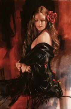 """Alhambra"" - Richard Johnson {contemporary artist figurative beautiful female woman in red dress portrait painting}"