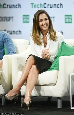 Multi-tasking goddess: Jessica Alba was seen at a TechCrunch Disrupt event in New York on Wednesday