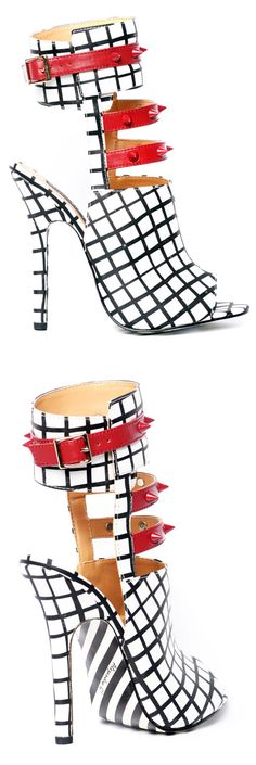 Alejandra G. Fiona black white red sandals