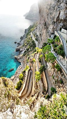 Road in Capri. Scariest part is passing someone. My mom almost wet herself at every turn