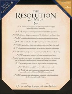 The Resolution For Women [from the movie COURAGEOUS] - Print | The Resolution For Women From The Movie COURAGEOUS. | $7.92 at ChristianCinema.com