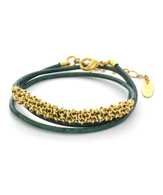 Look at this ADA Collection Emerald Double Lila Leather & Gold Bracelet on #zulily today!
