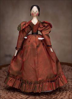 9 in early wooden German doll; Groednertal Valley, c. 1840.