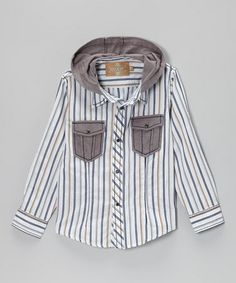 Take a look at this White Pinstripe Gray Matters Hooded Shirt - Toddler & Boys by Kalliope on #zulily today!