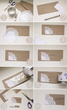 Simple Kraft Paper and Lace Doily Business Card