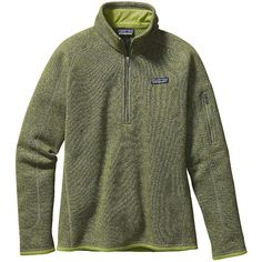 Patagonia Women's Better Sweater 1/4 Zip ($99) ❤ liked on Polyvore featuring tops, supply green, patagonia, jersey top, green jersey, zip front top and green top