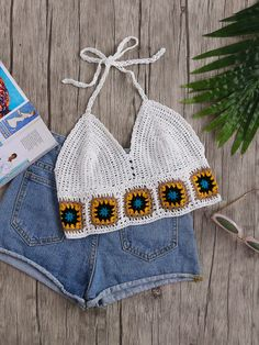 SheIn offers Geo Pattern Trim C… Shop Geo Pattern Trim Crochet Halter Top online. SheIn offers Geo Pattern Trim Crochet Halter Top & more to fit your fashionable needs. Bikinis Crochet, Crochet Halter Tops, Crochet Crop Top, Black Crochet Dress, Diy Crochet, Crochet Top Outfit, White Crochet Top, Bralette Pattern, Knitting Patterns