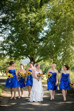 Royal Blue Bridesmaids | Sunflowers |  The Clubhouse at Patriot Hills in Stony Point, NY
