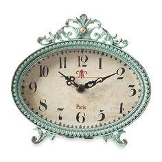 Creative Co-Op Pewter Tabletop Clock in Aqua $30