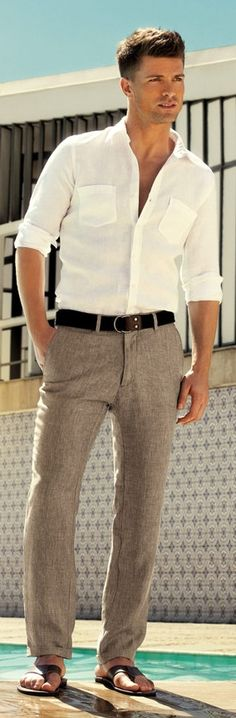 I'd let go of the belt and have the shirt out, to make it more casual lookin to go with the thongs.