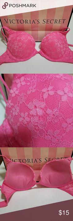 PINK Victoria's Secret Pink Push Up Bra 32B PINK Victoria's Secret Pink Push Up Bra size 32 B. Padding and underwire. Adjustable shoulder straps and adjustable hook back closure.  Floral lace detail. PINK Victoria's Secret Intimates & Sleepwear Bras