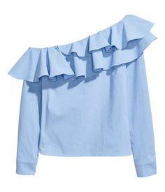 One-shoulder Blouse   Blue/striped   Women   H&M US