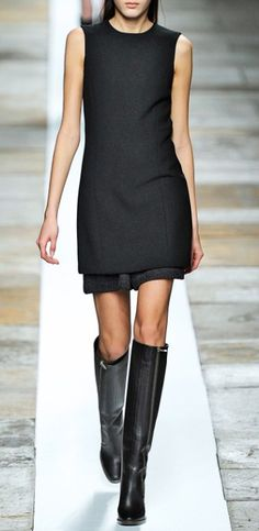 LBD with black tall boots