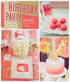 Coral and Gold Birthday Party Inspiration Board