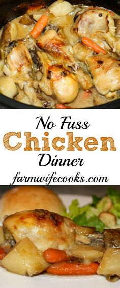 Are you looking for an easy crock pot chicken dinner recipe? This No Fuss Chicken Dinner is perfect for busy days and will be loved by the whole family!