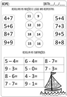 Subtraction Worksheets, 1st Grade Worksheets, Kindergarten Math Worksheets, Math Literacy, Preschool Learning Activities, Learn Chinese Characters, Reading Comprehension Worksheets, Math Journals, Math For Kids