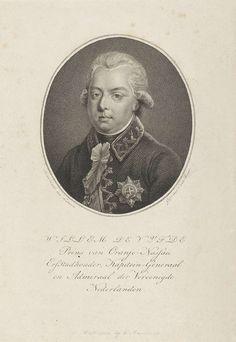 Willem van Senus | Portret van Willem V, prins van Oranje-Nassau, Willem van Senus, Evert Maaskamp, 1787 - 1834 | Portret van Willem V in een ovaal. In de ondermarge zijn naam en titels.